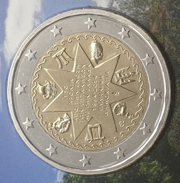 Greece - 2 Euro 2014, 150 years from the unification of the Ionian Islands, (Coin Card)