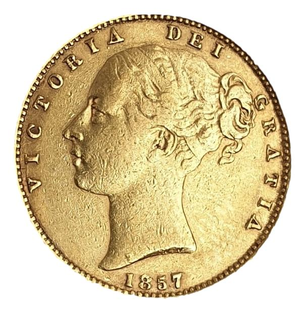 England - 1 Sovereign 1857 shield, Victoria Young Head
