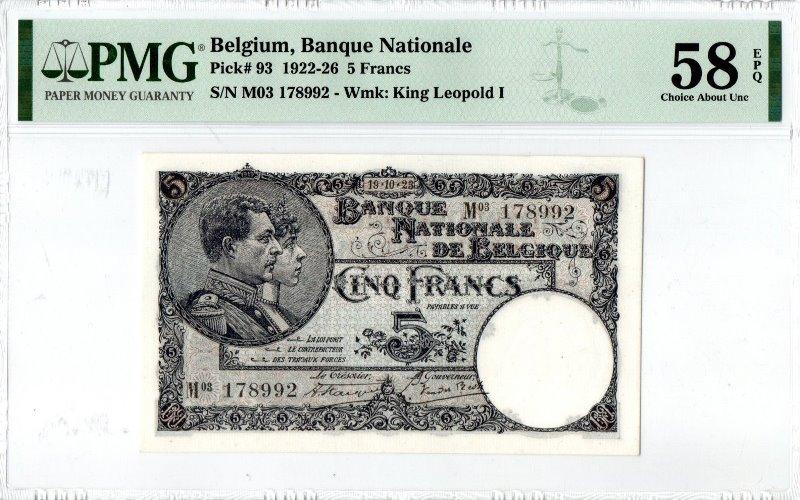 Bank Of Belgium - 5 Francs 1922 - 1926, PMG CAU 58