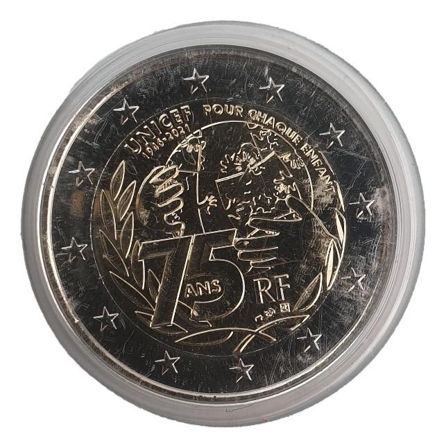 France - 2 Euro 2021, Commemorative Unicef, (Coin Card)