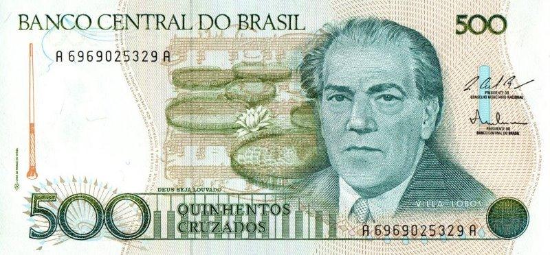 Bank Of Brazil - 500 Cruzados 1986 - 1988, UNC