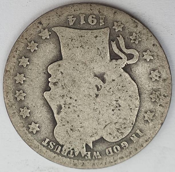 """USA - Quarter Dollar 1914, """"Barber Quarter"""", Silver"""