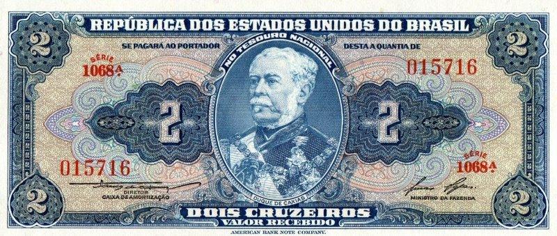 Bank Of Brazil - 2 Cruzeiros 1944, UNC