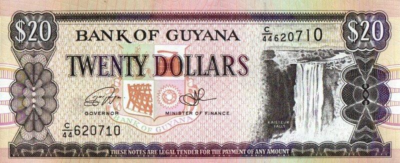 Bank Of Guyana - 20 Dollars 1988 - 1996, UNC