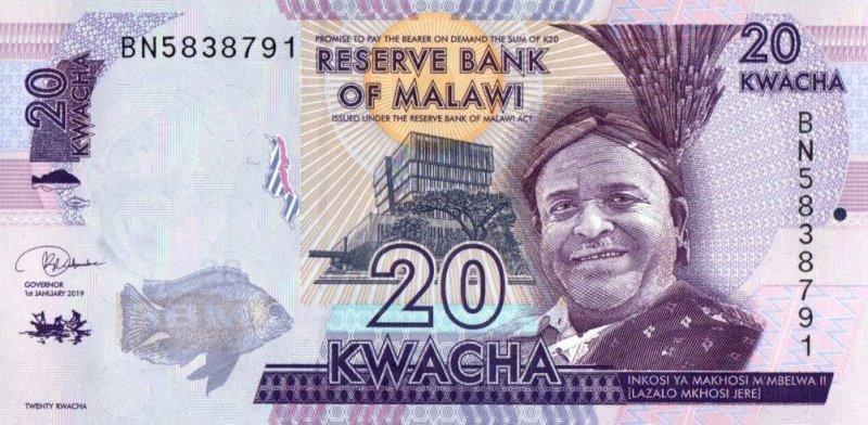 Bank Of Malawi - 20 Kwacha 2019, UNC
