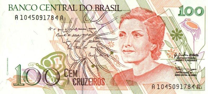 Bank Of Brazil - 100 Cruzeiros 1990, UNC