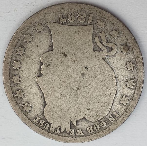 """USA - Quarter Dollar 1897, """"Barber Quarter"""", Silver"""