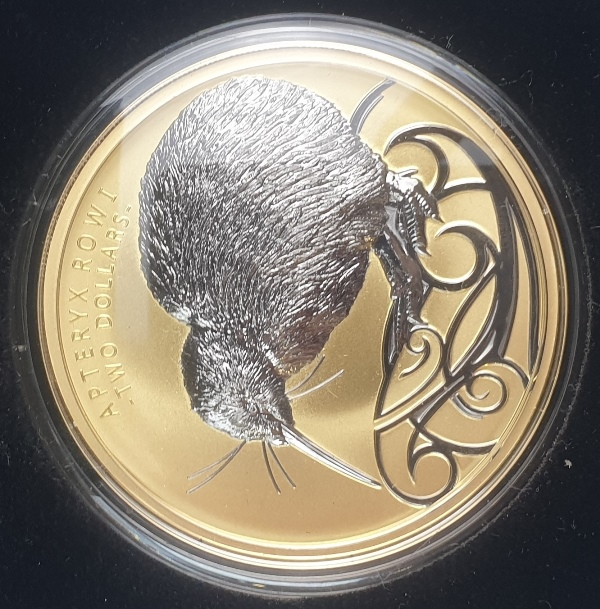New Zealand - 2 OZ 2020 - Apteryx Rowi, Gold and Ruthenium, Silver 999*