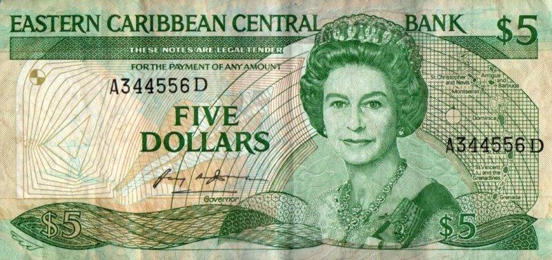 Bank Of Eastern Caribbean States - 5 Dollars 1986 - 1988