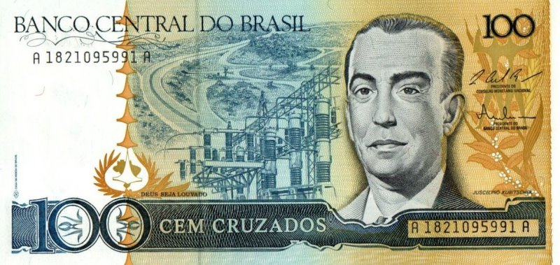 Bank Of Brazil - 100 Cruzados 1986 - 1988, UNC