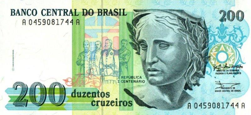 Bank Of Brazil - 200 Cruzeiros 1990, UNC