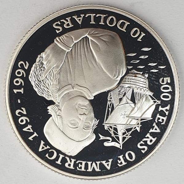Cook Islands - 10 Dollars 1992, Elizabeth II Christopher Columbus, Silver