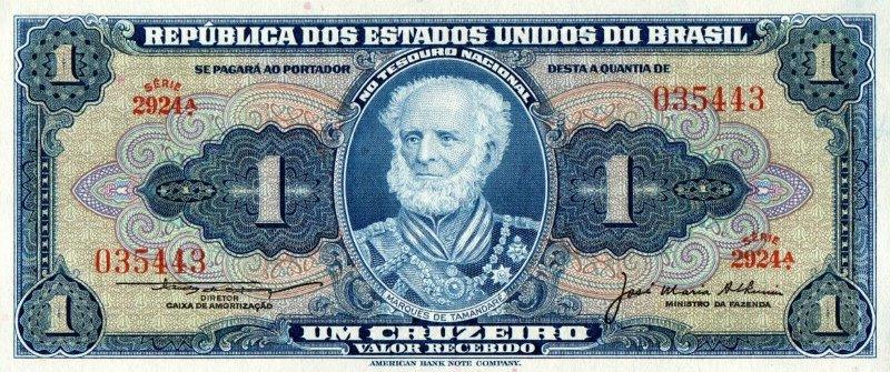 Bank Of Brazil - 1 Cruzeiro 1944, UNC