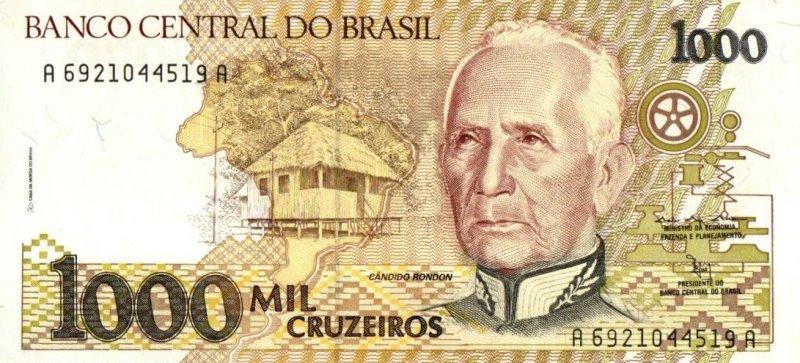 Bank Of Brazil - 1000 Cruzeiros 1990 - 1991, UNC