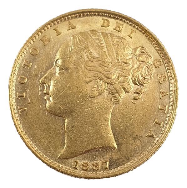 England - 1 Sovereign 1887 (S), Victoria shield UNC