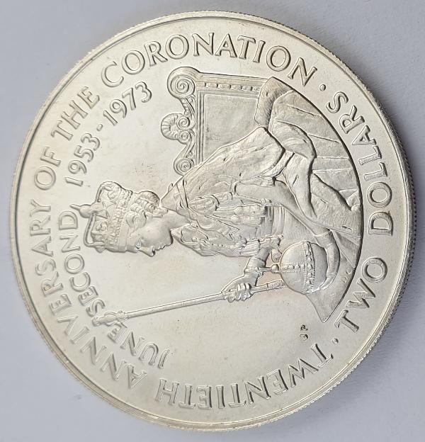 Cook Islands - 2 Dollars 1973, Elizabeth II, Coronation, Silver