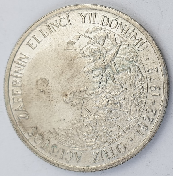 Turkey - 50 Lira 1972, August Victory, Silver