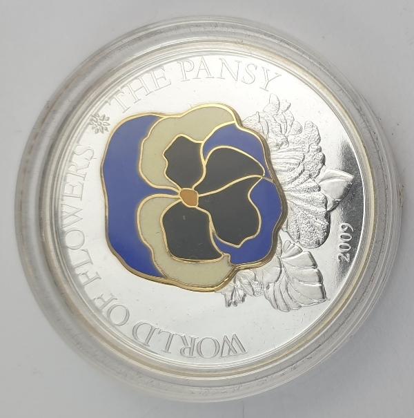 Cook Islands - 5 Dollars 2009 - Elizabeth II, Pansy, Silver 999*