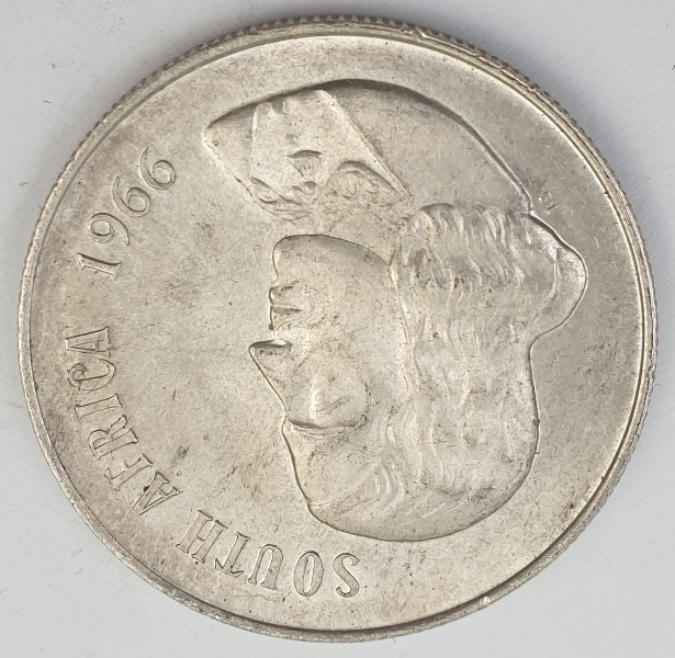 South Africa - 1 Rand 1966, English legend, Silver