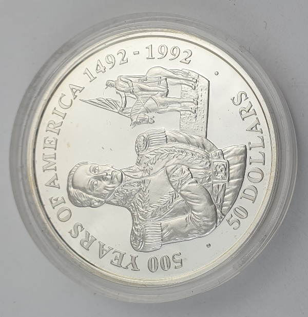 Cook Islands - 50 Dollars 1990 - Elizabeth II, Simon Bolivar, Silver