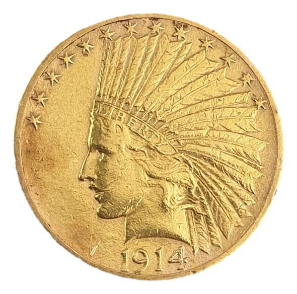 """USA - 10 Dollars 1914, """"Indian Head - Eagle"""""""