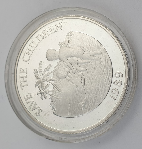 Cayman Islands - 5 Dollars 1989 - Elizabeth II, Save the Children, Silver