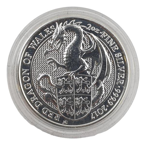 England - 2 OZ 2017 - Red Dragon of Wales, Silver 999*