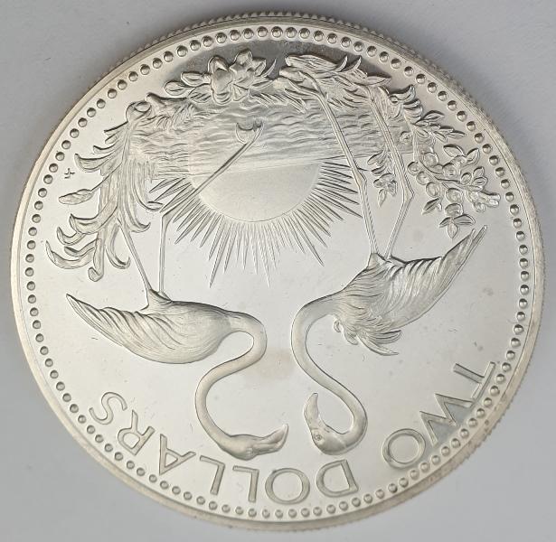 Bahamas - 2 Dollars 1974, Elizabeth II, Silver