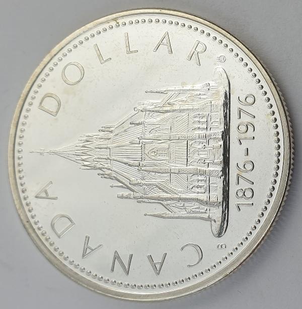 Canada - 1 Dollar 1976, Elizabeth II, Parliamentary Library, Silver