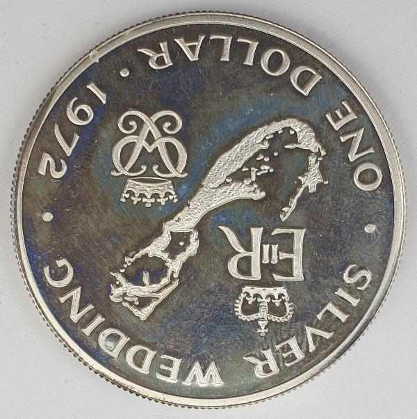 Bermuda - 1 Dollar 1972, Elizabeth II, Wedding, Silver