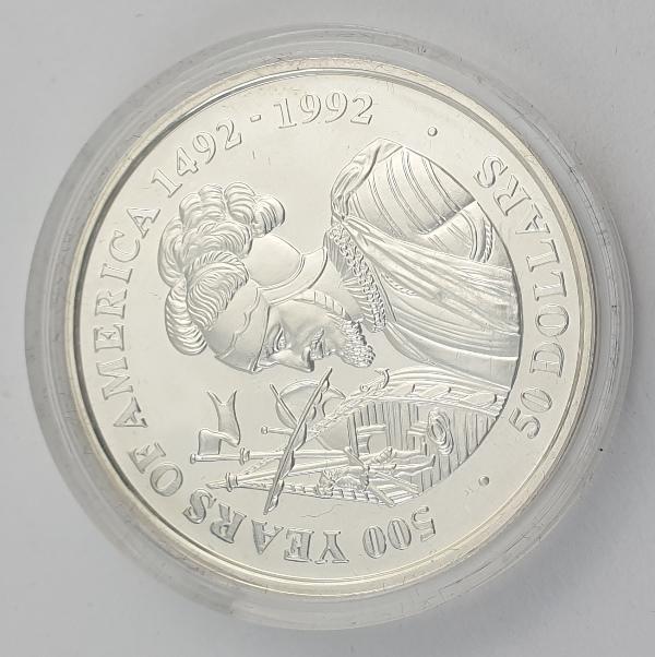 Cook Islands - 50 Dollars 1991 - Elizabeth II, Vasco Nunez de Balboa, Silver Proof