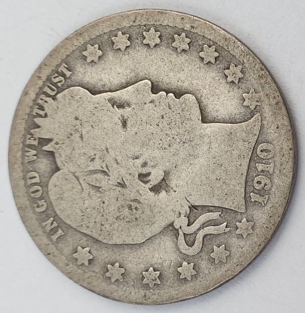 """USA - Quarter Dollar 1910(D), """"Barber Quarter"""", Silver"""