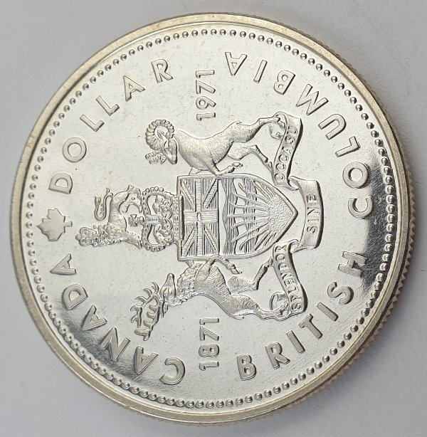 Canada - 1 Dollar 1971, Elizabeth II, British Columbia, Silver
