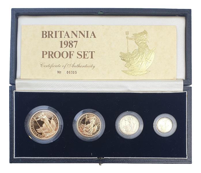 England - Four Coin Britannia Collection 1987, Gold Proof Set