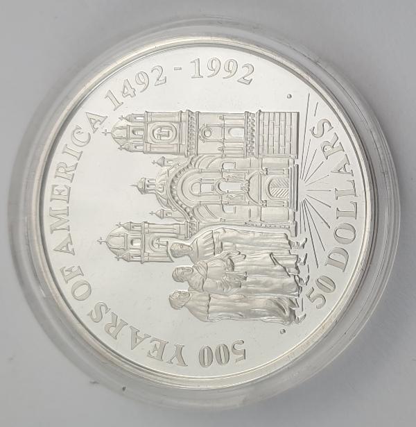 Cook Islands - 50 Dollars 1991 - Elizabeth II, Jesuit Church, Silver