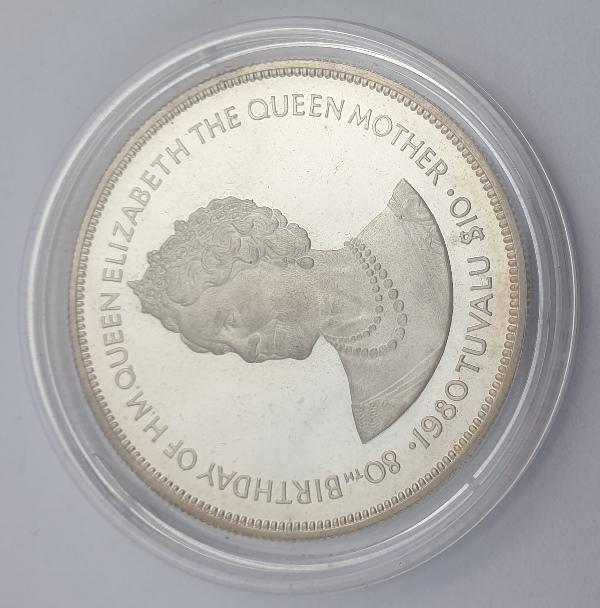 Tuvalu - 10 Dollars 1980 - Elizabeth II, Queen Mother, Silver