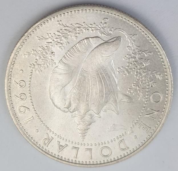 Bahamas - 1 Dollar 1966, Elizabeth II, Silver