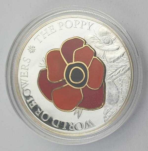 Cook Islands - 5 Dollars 2009 - Elizabeth II, Poppy, Silver 999*