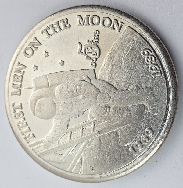 Marshall islands - 5 Dollars 1989, 20th Anniversary, First Men on the Moon