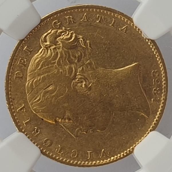 England - 1 Sovereign 1853, G. Britain, W.W. Raised, (XF DETAILS), Rev Damage