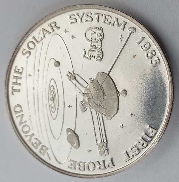 Marshall Islands - 50 Dollars 1989, First Probe Beyond the Solar System, Silver 999*