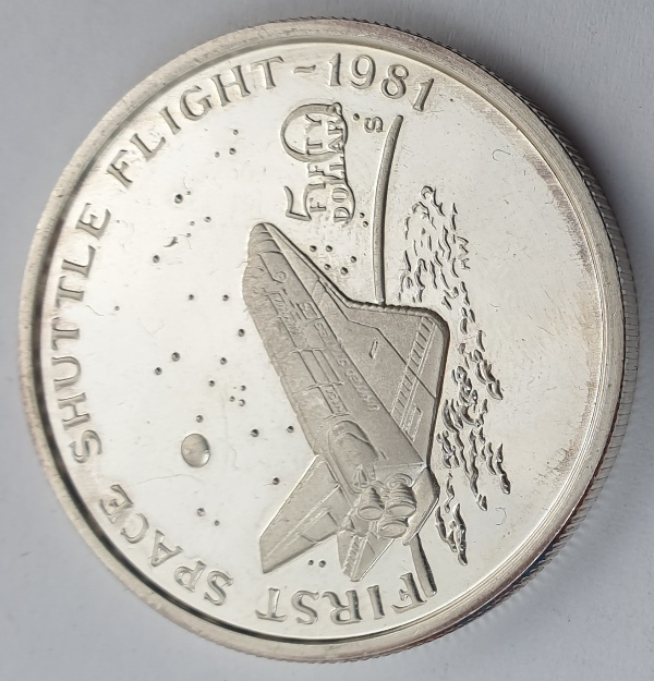 Marshall Islands - 50 Dollars 1989, First Space Shuttle Flight, Silver 999*
