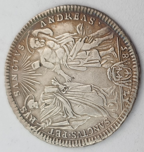 Italy - 1 Testone 1785, (AU), Pius VI St. Peter and Andrew, Silver