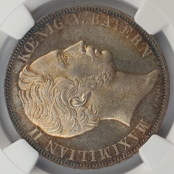 Germany - 2 Gulden 1855 (MS 63), Bavaria, Madonna Column, Silver
