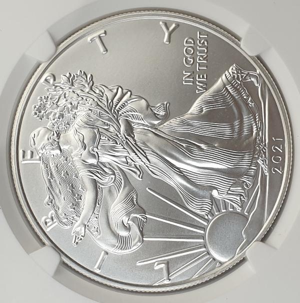 USA - 1 Dollar 2021 (MS 70), Heraldic Eagle T-1, (1 OZ), Silver 999*