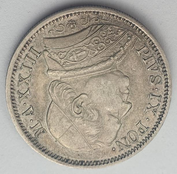Italy - 1 Lira 1868R, Pio IX, Silver