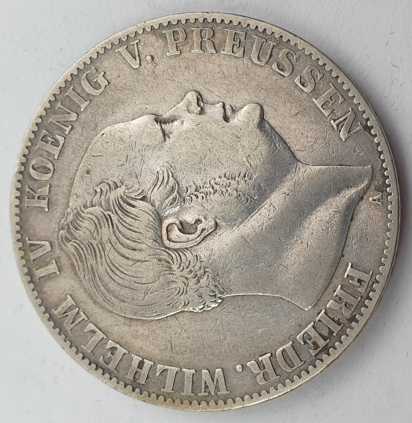 Germany - 1 Vereinsthaler 1859A, Friedrich Wilhelm IV, Silver