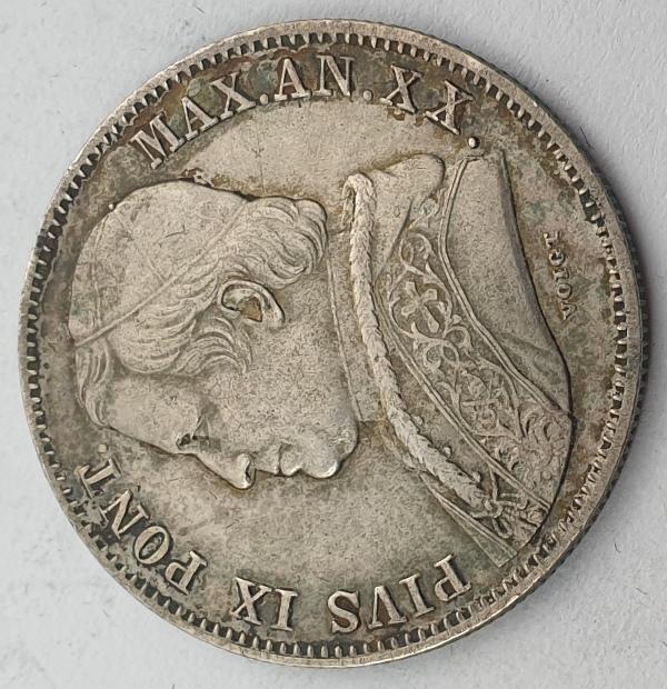 Italy - 20 Baiocchi 1865R, Pio IX, Silver