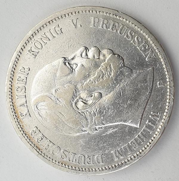 Germany - 5 Mark 1876 B, Wilhelm I, Silver