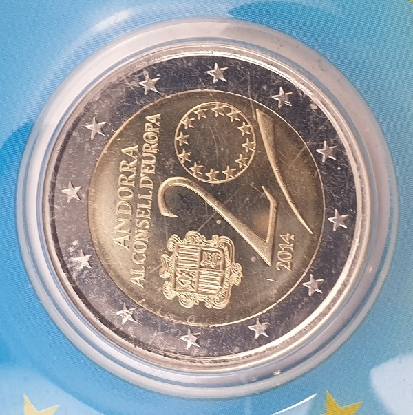 Andora - 2 Euro 2014, 20th anniversary of Andora al Consell D 'Europa , (Coin Card)